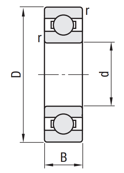 6001 Ball Bearings Dimensions