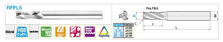 High-Speed Steel Roughing End Mill, Short, Long Shank, Center Cut / Non-Coated Model:Related Image
