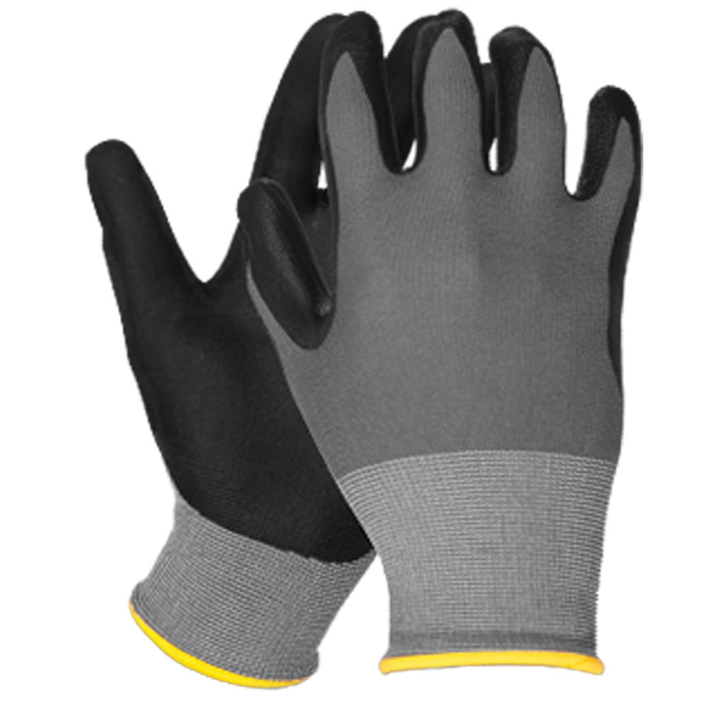 N100 Smooth Finish Nitrile Dipped Nylon Gloves, Gry/Blk