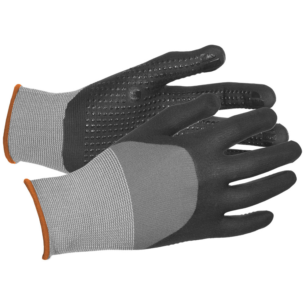 N300 Micro-Dotted Palm Nitrile Dipped Nylon Gloves, Gry/Blk