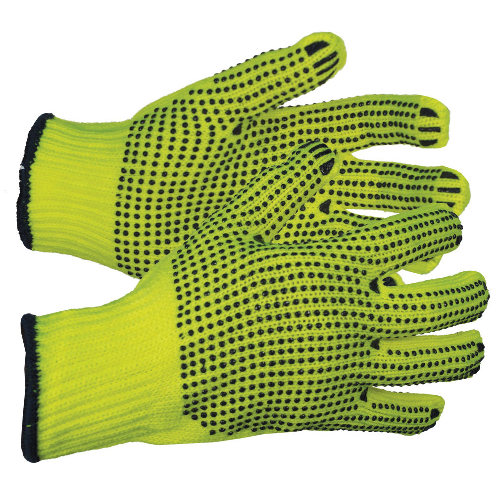 String w/PVC Dots (One Side) Gloves, Natural Color