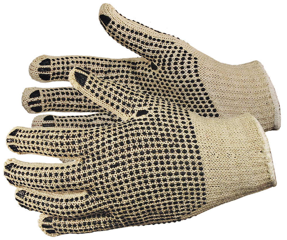 String w/PVC Dots (Two Sided) Gloves, Natural Color