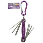 Colored Folding Hex Key 6-Piece Set with Carabiner - Metric or Inch (CUSTOM KOBO)