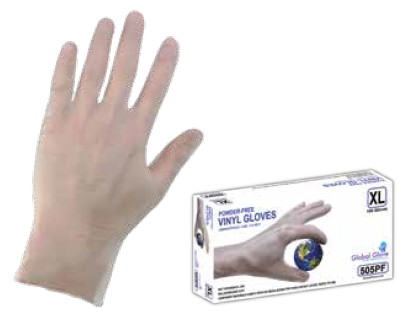 Vinyl Gloves, 5 Mil, 9.5 in Length, Clear Color, Sizes S-XL