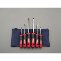 [6 Pcs] (+)(-) Screwdriver (With Handle-Side Hexagonal Shaft) EA557DD-600