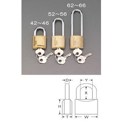 Long Hanger Cylinder Padlock (Common Key) EA983SG-64