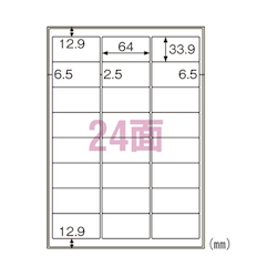 Label for Outdoor Use Rough Surface Compatible A4 24 Pieces with Margin Includes 10 Sheets