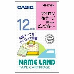 Name Land Iron-On Cloth Tape 12 mm Pink/Black Text