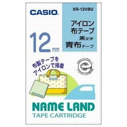Name Land Iron-On Cloth Tape 12 mm Blue/Black Text