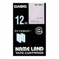 Name Land Tape 12 mm White Text Transparent