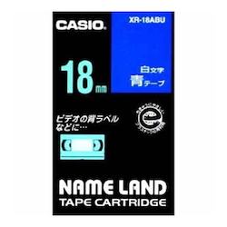 Name Land Tape 18 mm White Text Blue