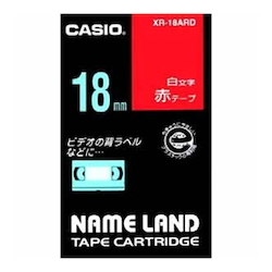 Name Land Tape 18 mm White Text Red