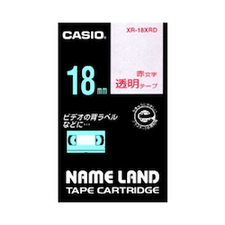 Name Land Tape 18 mm Clear Red Text
