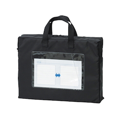 Mail Bag, Gusseted W Fastener, Black Standard: A4 Size with Gore, Outer Dimension: Height 270 x Width 360 x Depth 80 mm