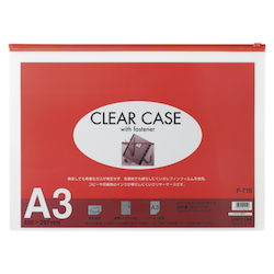 Clear Case, Horizontal Type, A3S, Red