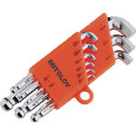 Stubby Short L-Shape Ball End Hollow Hex Key Set - 9 Piece Set, 1/16in to 3/8in (MITOLOY)