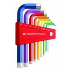 L-Shape Hex Key Set - Multi-Color, 9 Piece Set, 1.5mm to 10mm, 210H Series (PB SWISS TOOLS)