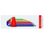 Long L-Shape Ball End Hex Key Set - Multi-Color, 9 Piece Set, 1.5mm to 10mm (PB SWISS TOOLS)