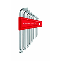 Stubby L-Shape Ball End Hex Key Set - 9 Piece Set, 1.5mm to 10mm, 2212H Series (PB SWISS TOOLS)