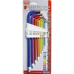 Color Coated Long L-Shape Ball End Hex Key Set - 9 Piece Set, 1.5mm to 10mm (TRAD)