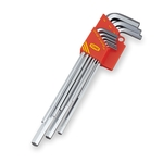 Long L-Shaped Hex Key Set - Special Alloy Steel, 9 Piece Set, 1/16in to 3/8in (TONE)