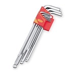 Long L-Shape Ball End Hex Key Set - Hard Chrome Plating, 9 Piece Set, 1/16in to 3/8in (TONE)
