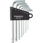 L-Shape Ball End Hex Key Set - Chrome-Vanadium Steel, 8 Piece Set, 1.5mm to 8mm (Trusco Nakayama)
