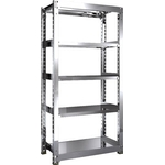 Stainless Steel Medium-Weight Shelf (SUS304 / Solid Shelf Type, 300 kg Type, Height 1,800 mm, 5-Level Type)