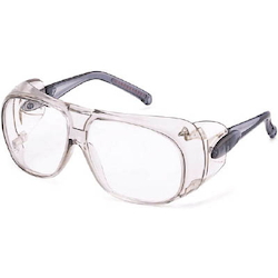 Twin-Lens Type Safety Glasses with Non-Slip Rubber Clear Frame