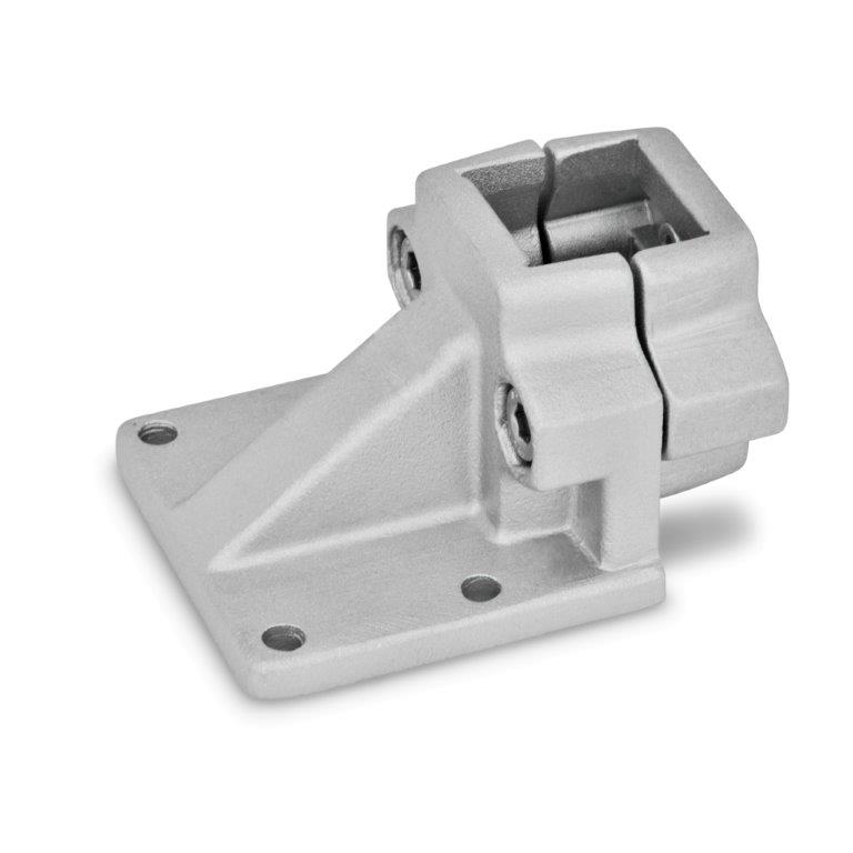Off-Set Base Plate Connector Clamps - Aluminum, Round or Square Bore Type, GN 166 Series (JW Winco)
