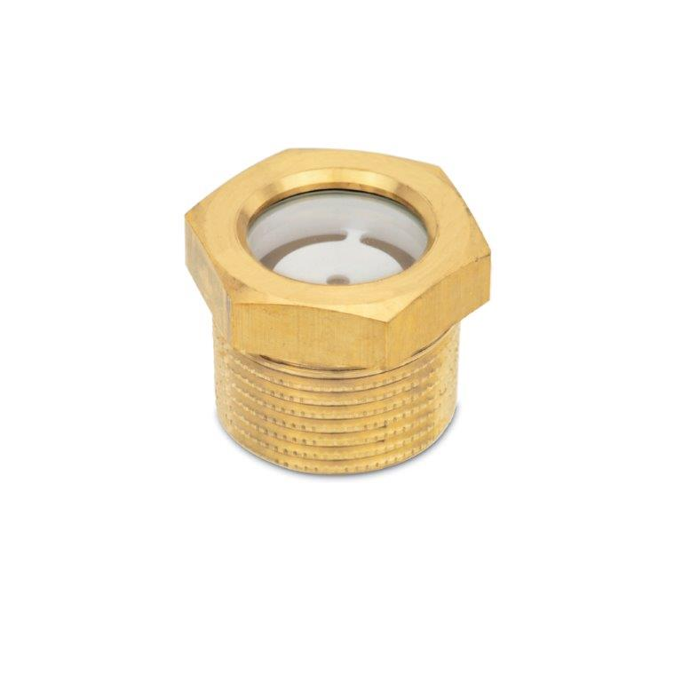 Fluid Level Sight Glasses - Brass, With Natural Float Glass, BSPT or NPT Threads, GN 743.7 Series, (JW Winco)