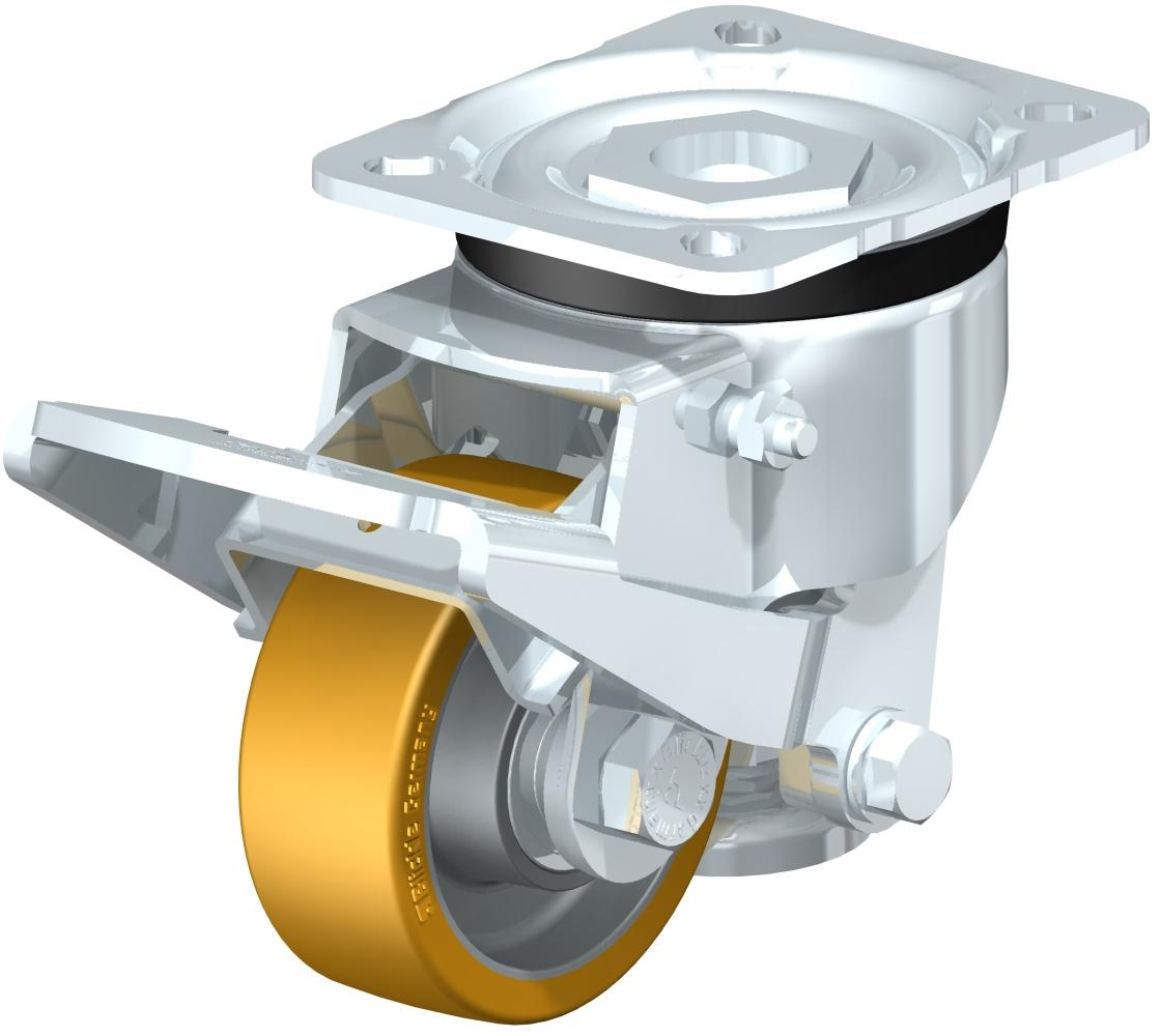 Leveling Casters - Following Swiveling Operating And Release Levers, With Top Plate Fitting, Ball Bearing, Blickle Extrathane Light Brown Polyurethane Tread On Aluminum Core Wheel (Blickle)
