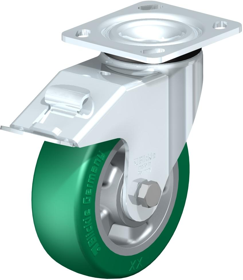 Medium Duty Industrial Top Plate Casters - Swivel, Ball Bearing, Blickle Softhane Green Crowned Polyurethane Tread On Aluminum Core Wheel, Stop-Fix Brake (Blickle)