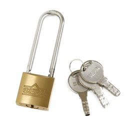 Dimpled Padlock, Long Shackle, Different Key Number (Hilogik)