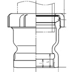 Adapter Drainage Pipe Fitting - Female, Steel (Hitachi Metals)