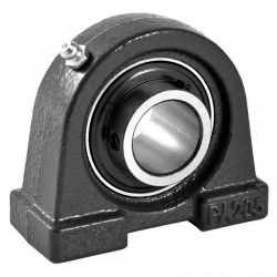 Plummer block housing units UCPA, cast iron housing, with short base, radial insert ball bearing with grub screws in inner ring, RSR seals