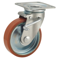 Medium-Load Caster, P-WJS, Logllan (Urethane) Wheel, with Swivel Bracket and Double Stopper
