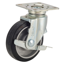Tow Cart Caster, TRS-AWJB, Aluminum Cored Bar Type, with Stopper and Swiveling Fittings, Silent