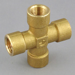 Cross Pipe Fitting - Female, Threaded, Brass (Koyo)
