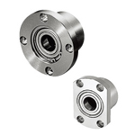 Low Dust Raise Greased Bearings with Housings - Double Bearings, Unretained, Round Flange, Electroless Nickel Plating
