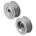 Flanged Idlers with Teeth - AT10, Both Sides Bearing, Electroless Nickel Plating