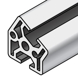 20x20 Aluminum Extrusion - 5 Series, Base 20, 30/45/60 Degree Angled (MISUMI)
