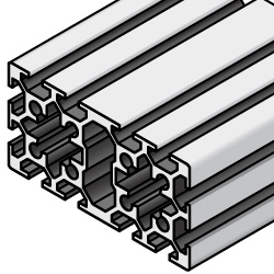 40x80 Aluminum Extrusion w/ Milled Surfaces - 5 Series, Base 20 (MISUMI)