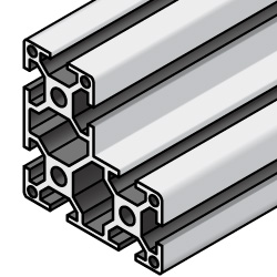 Aluminum Extrusion with Milled Surfaces- 5 series, Base 20 , L-Shaped Extrusion