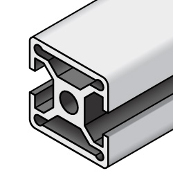 30x30 Aluminum Extrusion - 6 Series, Base 30, Two Opposite Closed Sides (MISUMI)