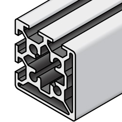 50x50 Aluminum Extrusion - 6 Series, Base 50, Two Adjacent Closed Sides (MISUMI)