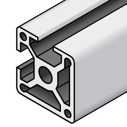 40x40 Aluminum Extrusion - 8 Series, Base 40, Two Adjacent Closed Sides (MISUMI)
