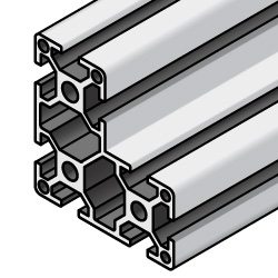 Aluminum Extrusions - 8 Series, Base 40, L-Shape, 80 x 80 x 40mm