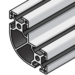 Aluminum Extrusions - 8 Series, Base 40, Radiused Corner, 80 x 80 x 40mm
