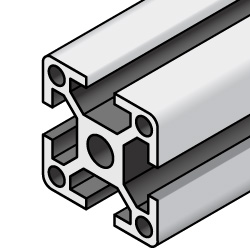 Aluminum Extrusions - 8 Series, Base 50, Four-Side Slots